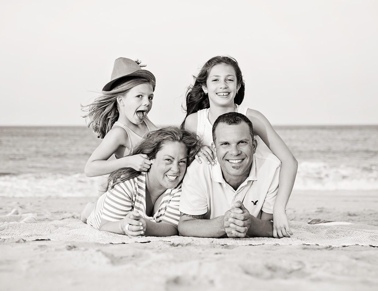 Black and white family portrait in Nags Head NC