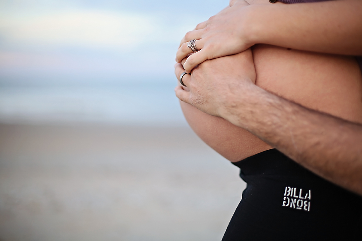 Maternity belly photo at the beach in OBX