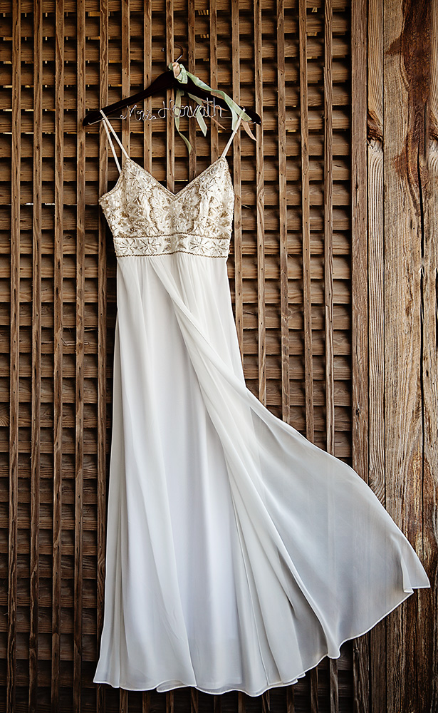 Wedding dress hanging at Sanderling in Duck NC