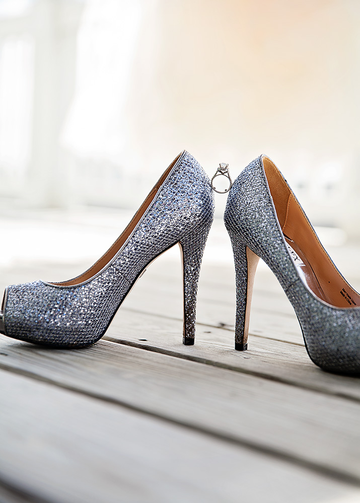 Bride's badgley mischka shoes  with engagement ring