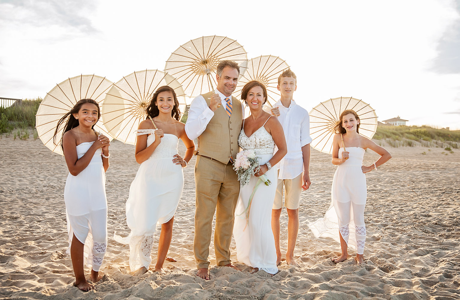 wedding party at the beach in Duck NC